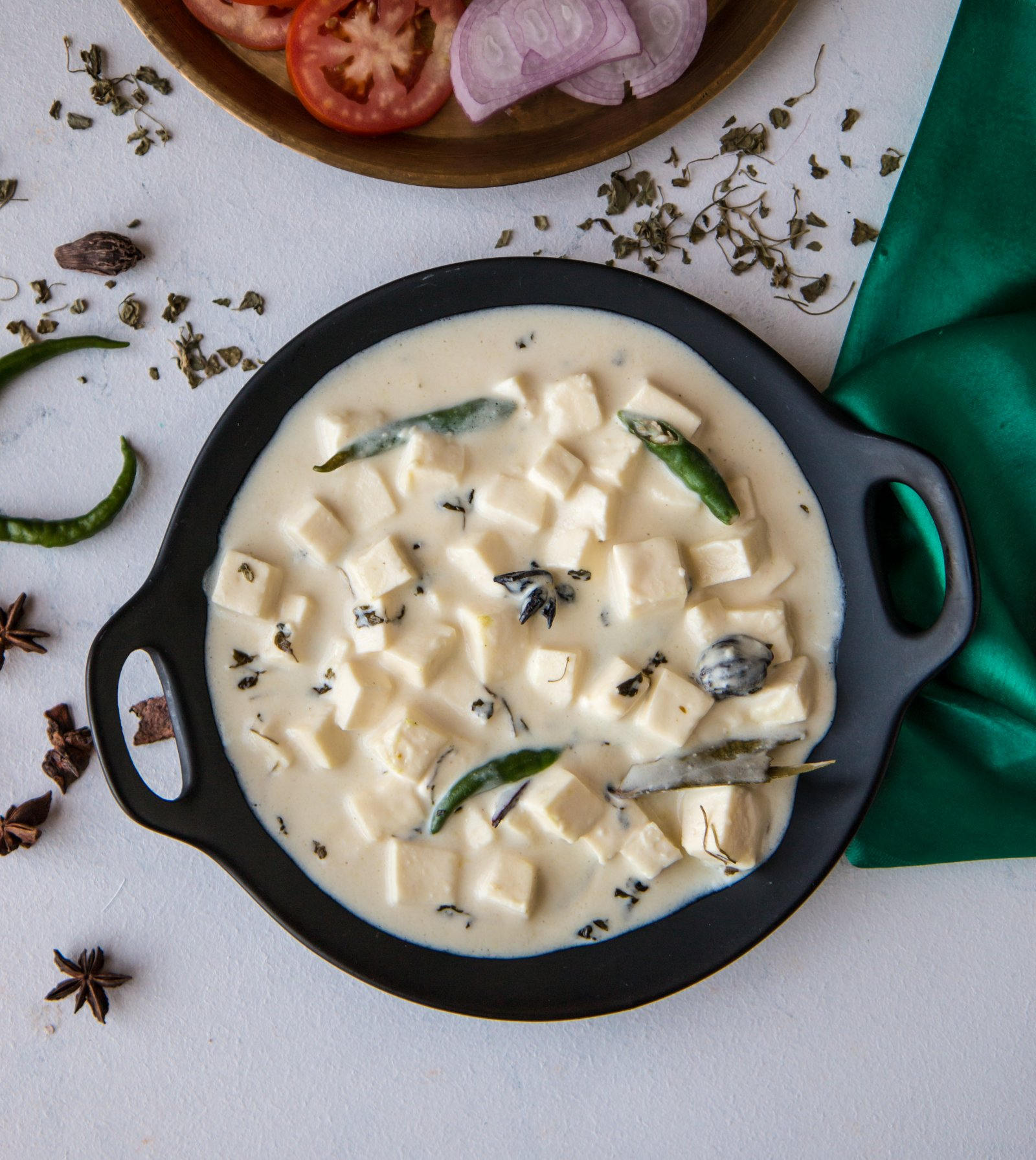 Paneer in White Gravy Recipe - No Onion No Garlic Recipe