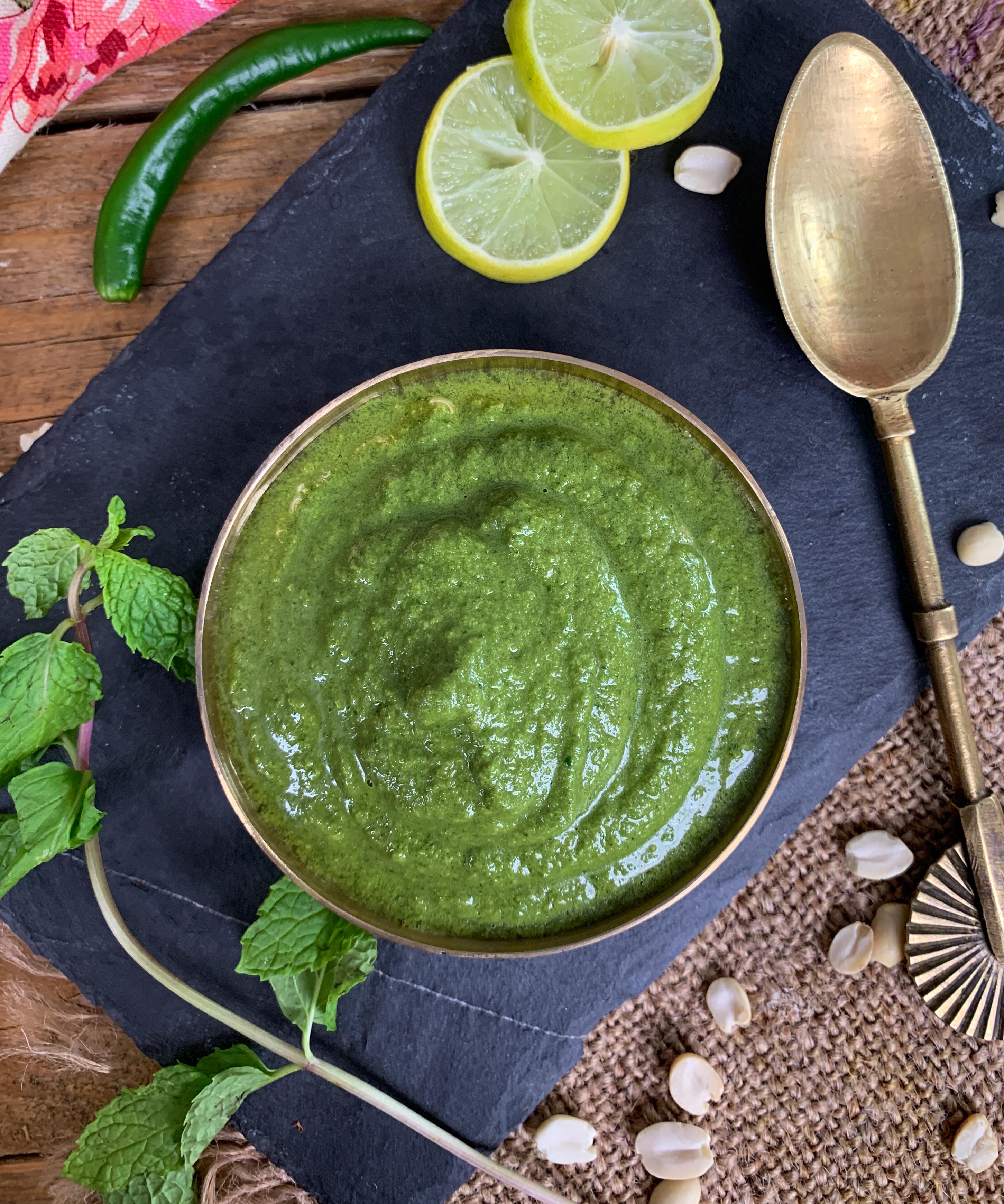 Green Chutney Recipe - Dhania Pudina Chutney by Archana's Kitchen
