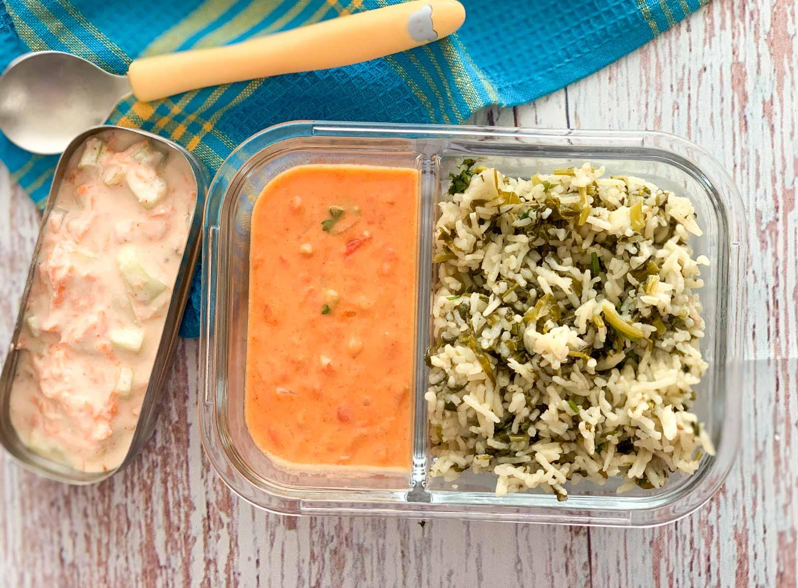 Kids Lunch Box: Sarson Saag Pulao, Tomato Sheer And Carrot Peanut Raita