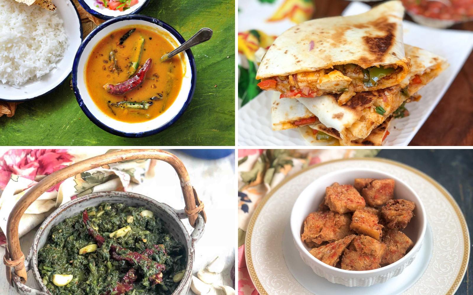 Office Lunch Box Menu Plan- Kala Desi Chana, Kashmiri Saag , Chilli Paneer Quesadilla & More