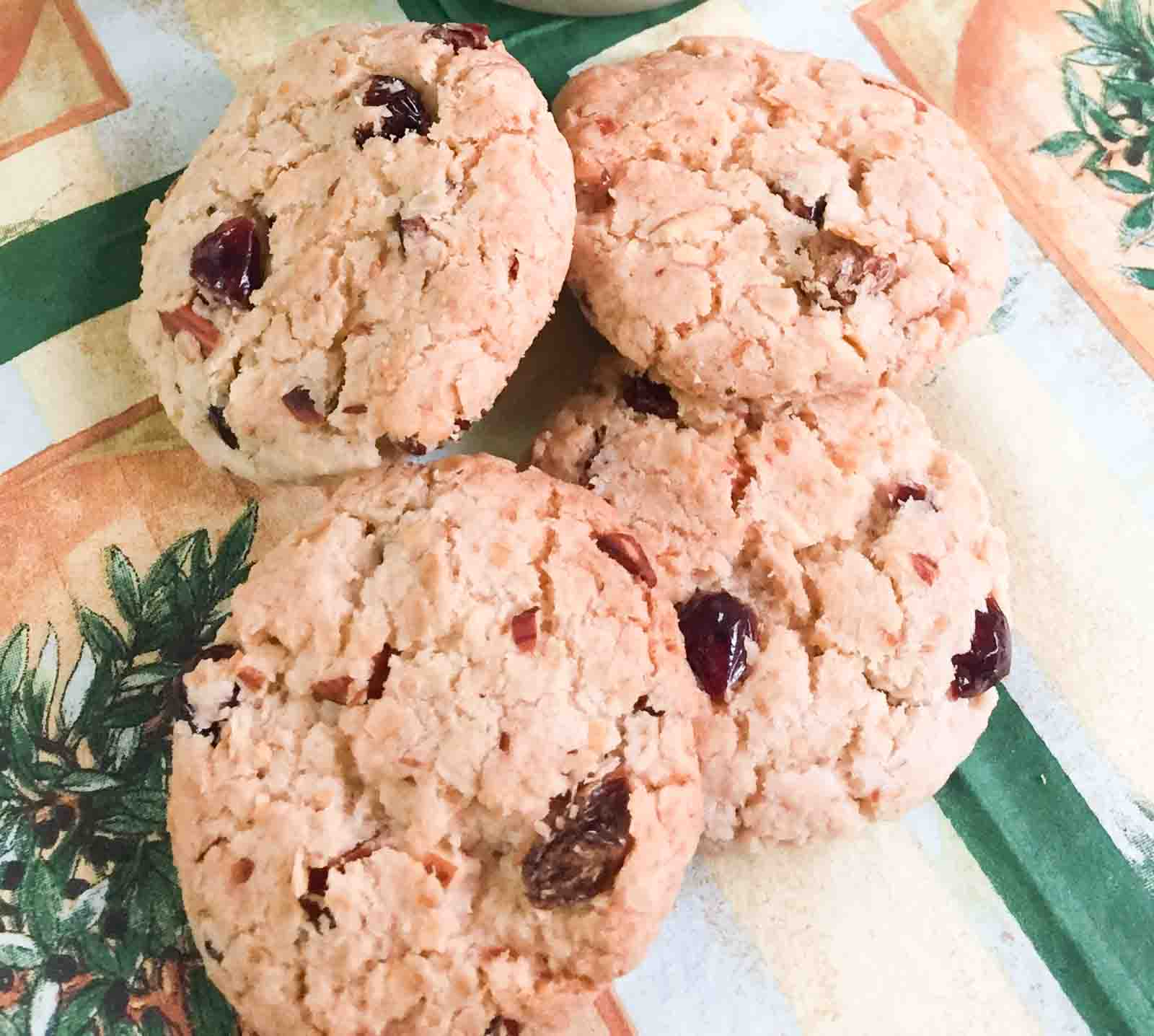Eggless Oats Cranberry Almond Cookies Recipe