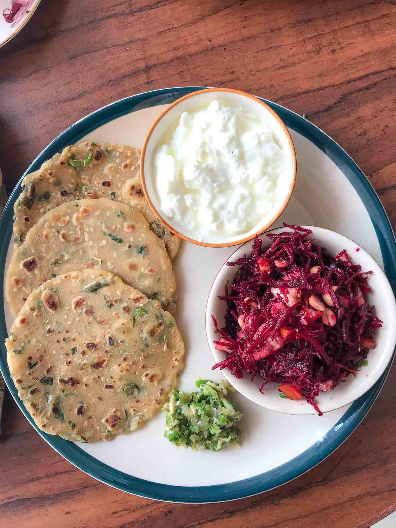Everyday meal plate methi thalipeeth green chilli thecha and everyday meal plate methi thalipeeth green chilli thecha and beetroot salad forumfinder Gallery