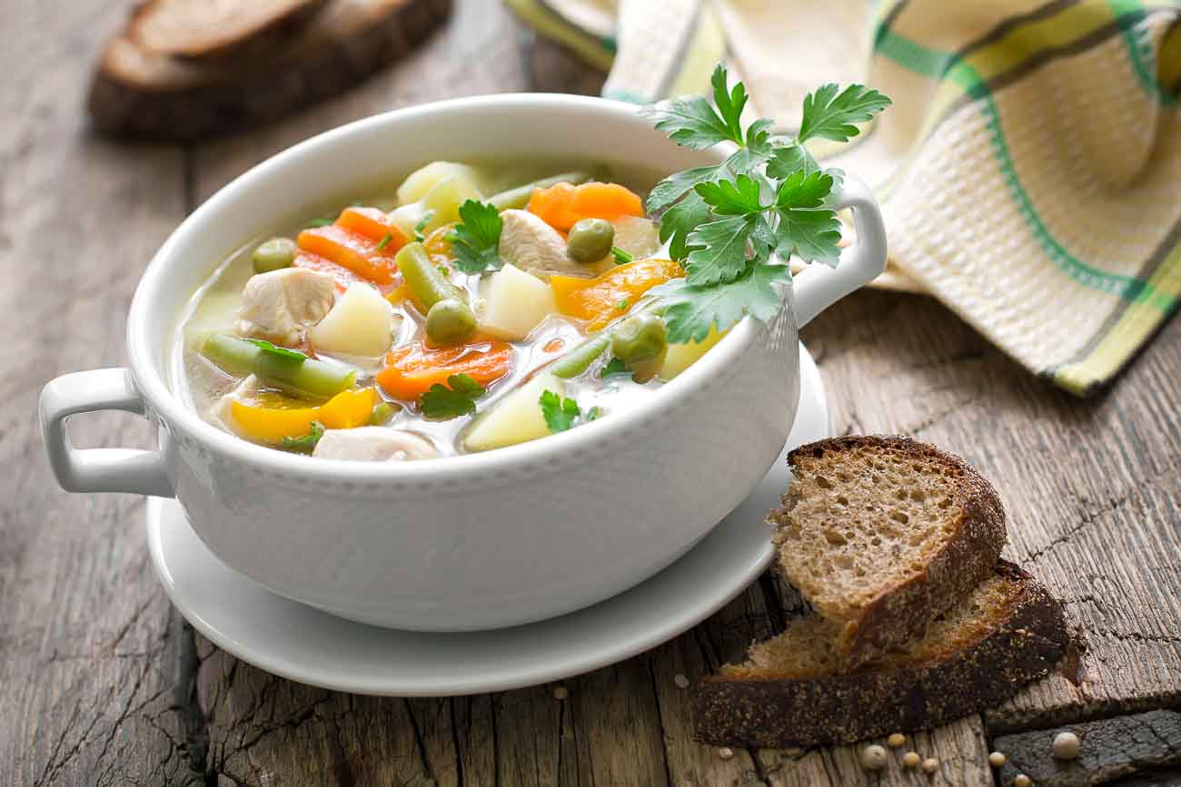 Healthy Creamy Chicken Soup With Vegetables Recipe