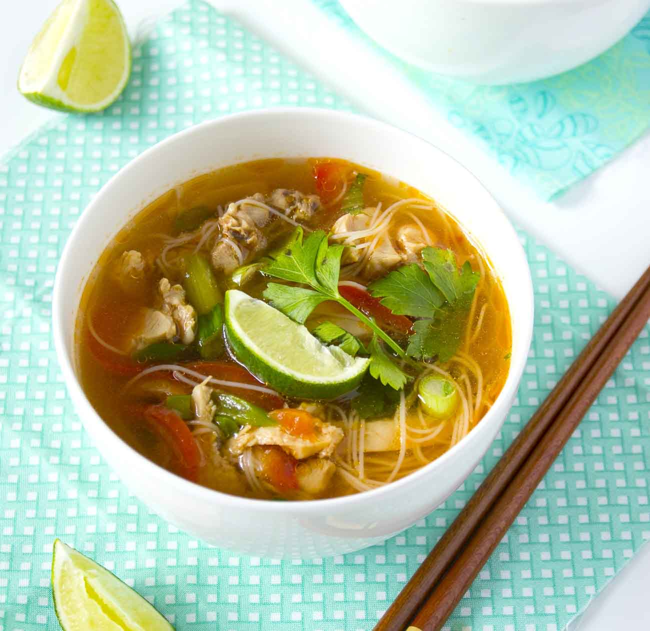 Thai Chicken Noodle Soup With Veggies Recipe