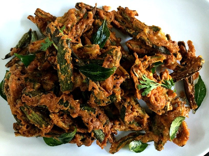 Crispy Fried Kurkuri Bhindi Recipe Spiced With Cumin & Chaat Masala