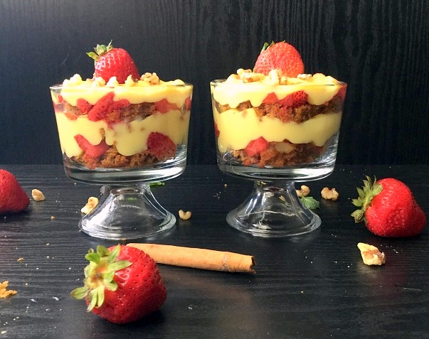 Carrot Cake Parfait With Custard And Strawberries Recipe
