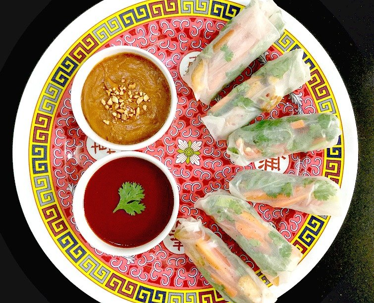 Vietnamese Style Vegetarian Spring Rolls Recipe With Peanut Dipping Sauce By Archana S Kitchen