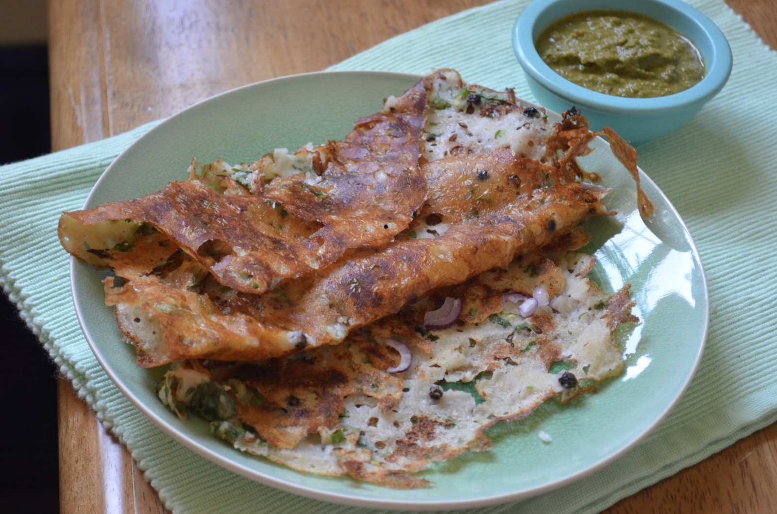 Onion Rava Dosa Recipe - Spiced Semolina Crepe