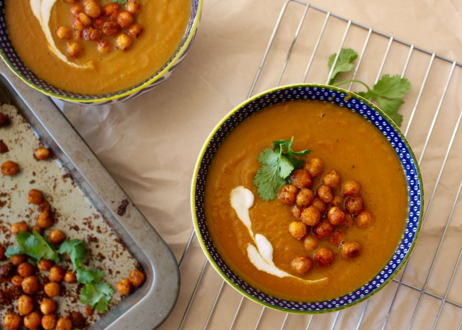Apple Carrot Sweet Potato Soup With Garam Masala Roasted Chickpeas Recipe