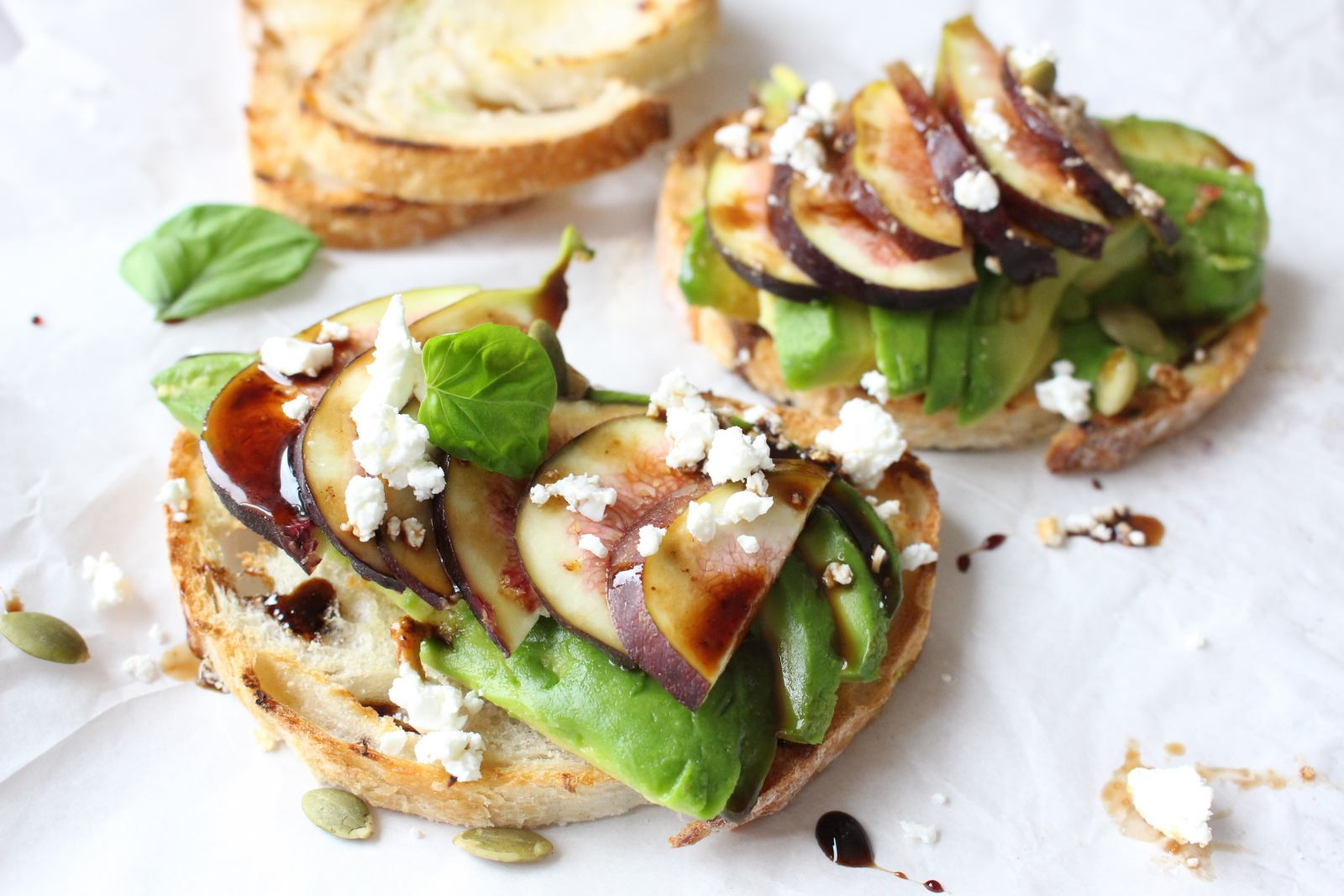Avocado On Toast With Fresh Figs And Balsamic Reduction