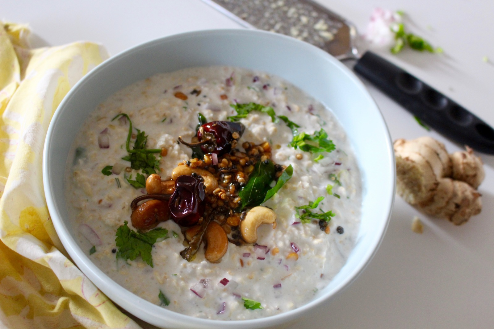 Curd Rice Style Overnight Oats Recipe