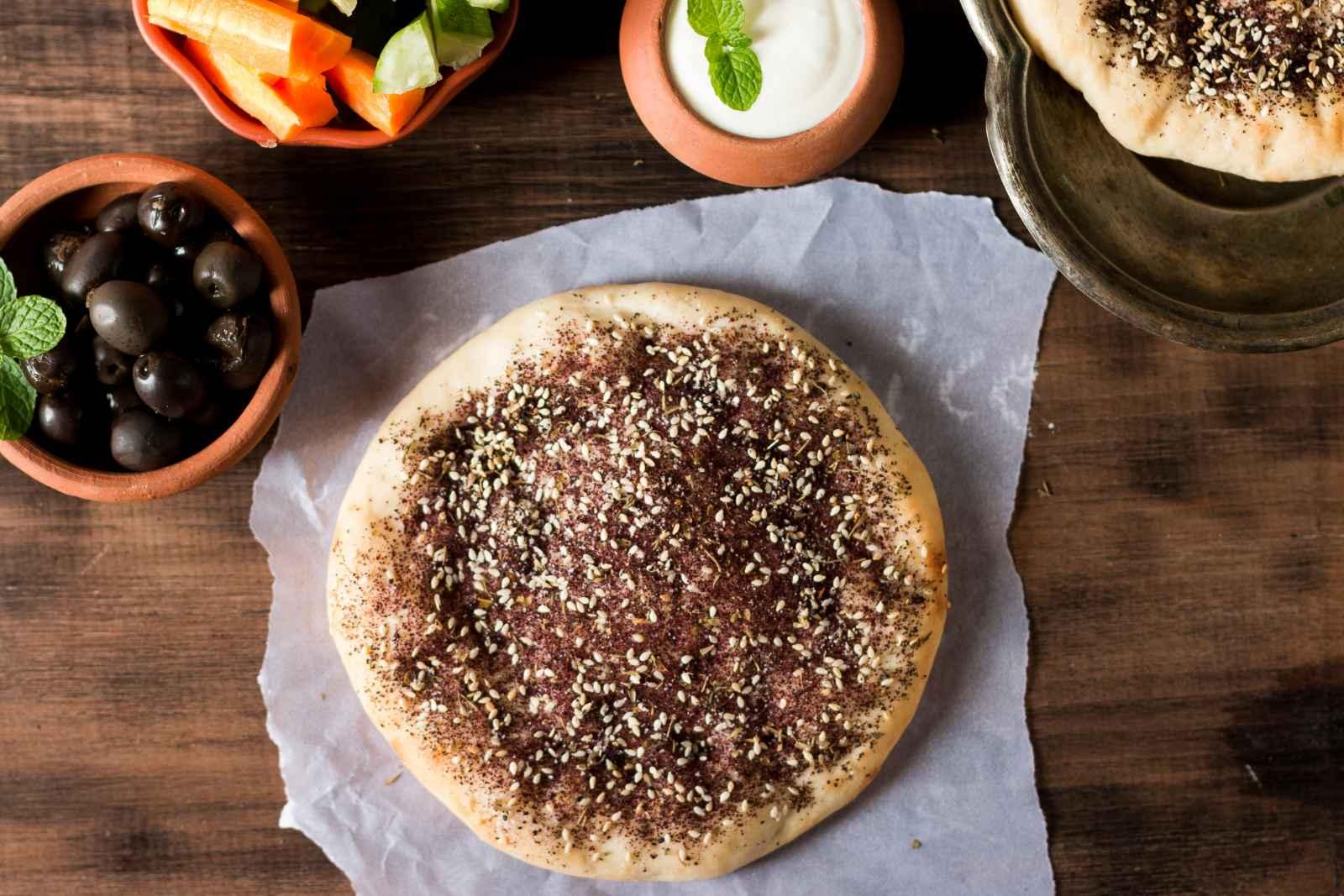 Manakish Zaatar (Traditional Lebanese Spiced Pita Bread ...