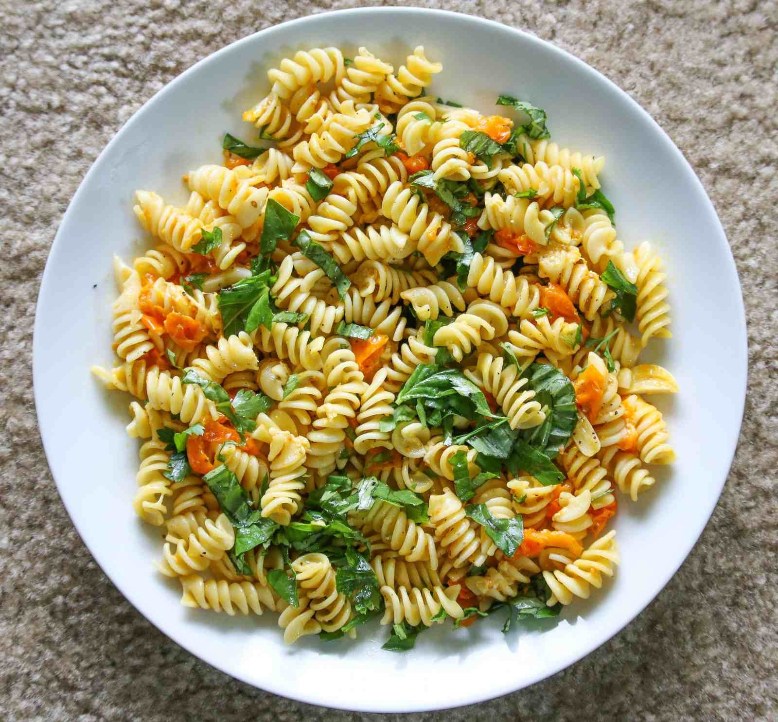 Fusilli Alla Caprese Recipe-Pasta With Cherry Tomatoes And Basil Leaves