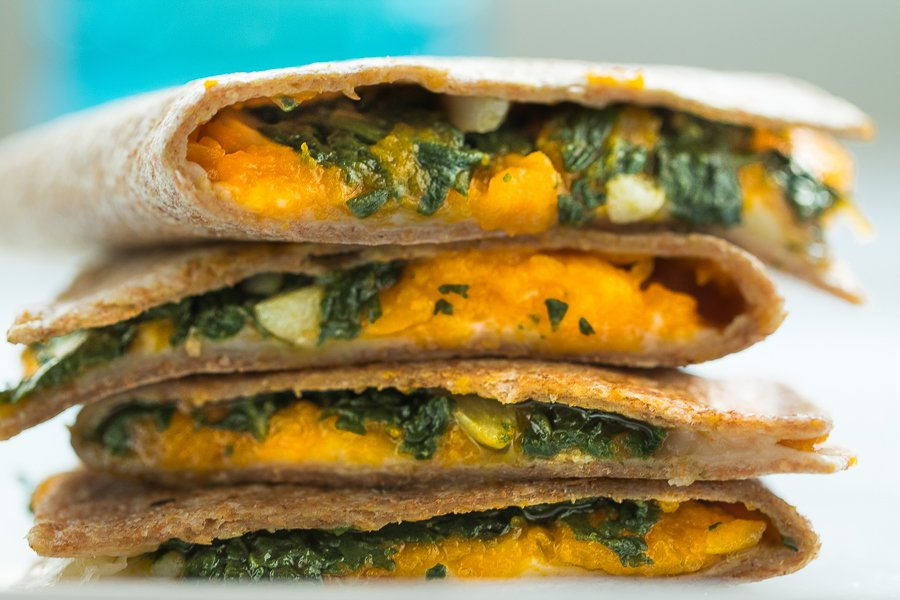 Mexican Style Pumpkin and Spinach Quesadillas Recipe
