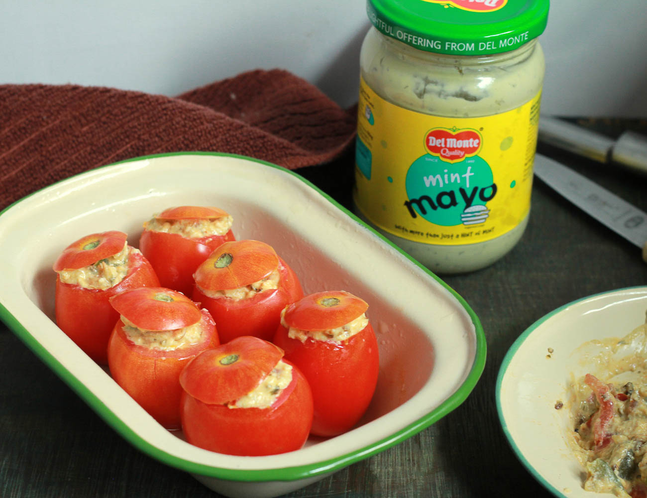 3 step Tomatoes stuffed with Del Monte Mint Mayo and Paneer 2