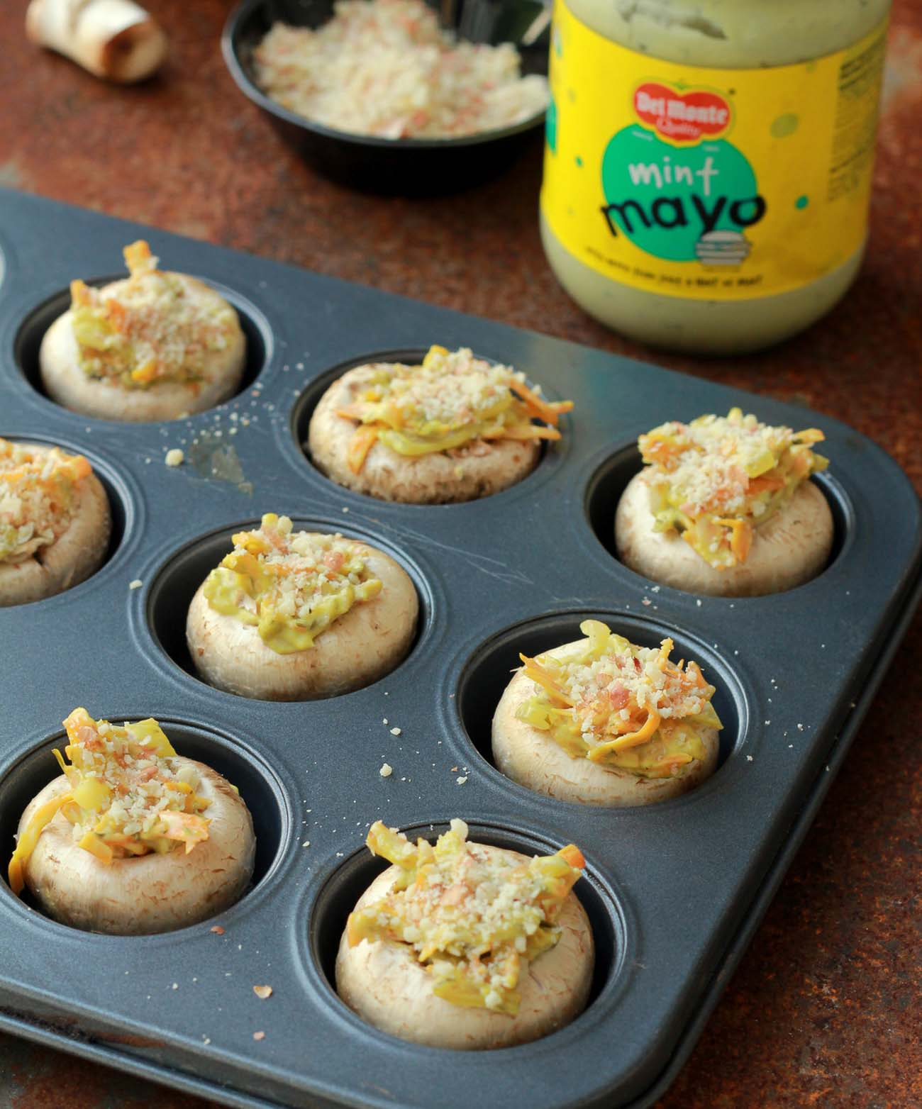5 step Mushrooms stuffed with carrots and Del Monte Mint Mayo 2