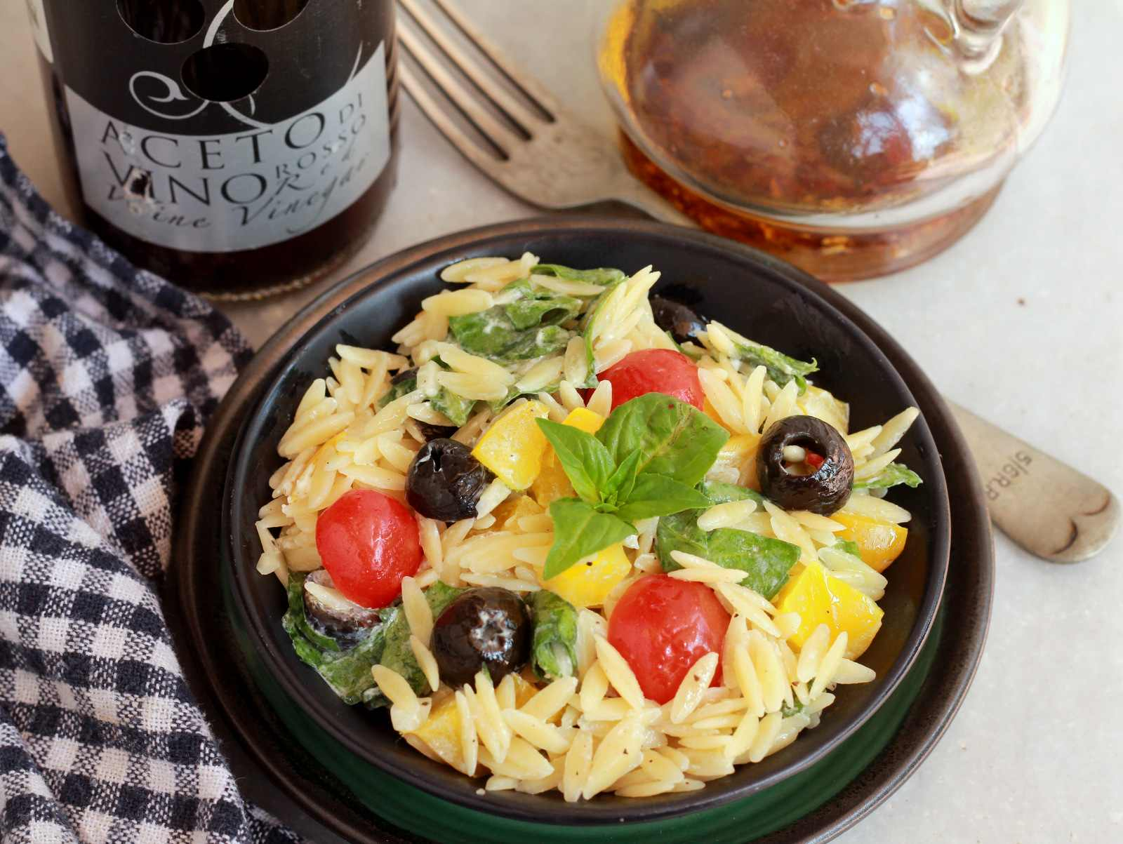 Mediterranean Orzo Pasta Salad With Feta Vinaigrette Recipe