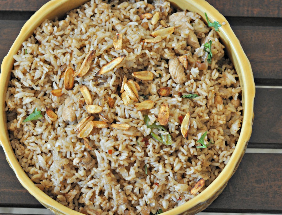 Burnt garlic chicken fried rice recipe by archanas kitchen burnt garlic chicken fried rice recipe indo chinese fried rice ccuart Images