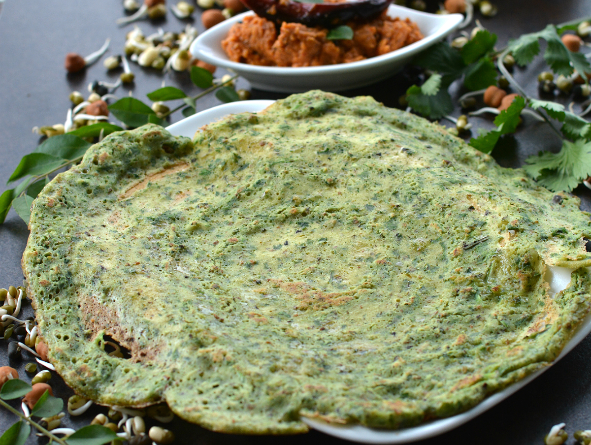 Mixed Sprouts Coriander Dosa With Idli Dosa Batter