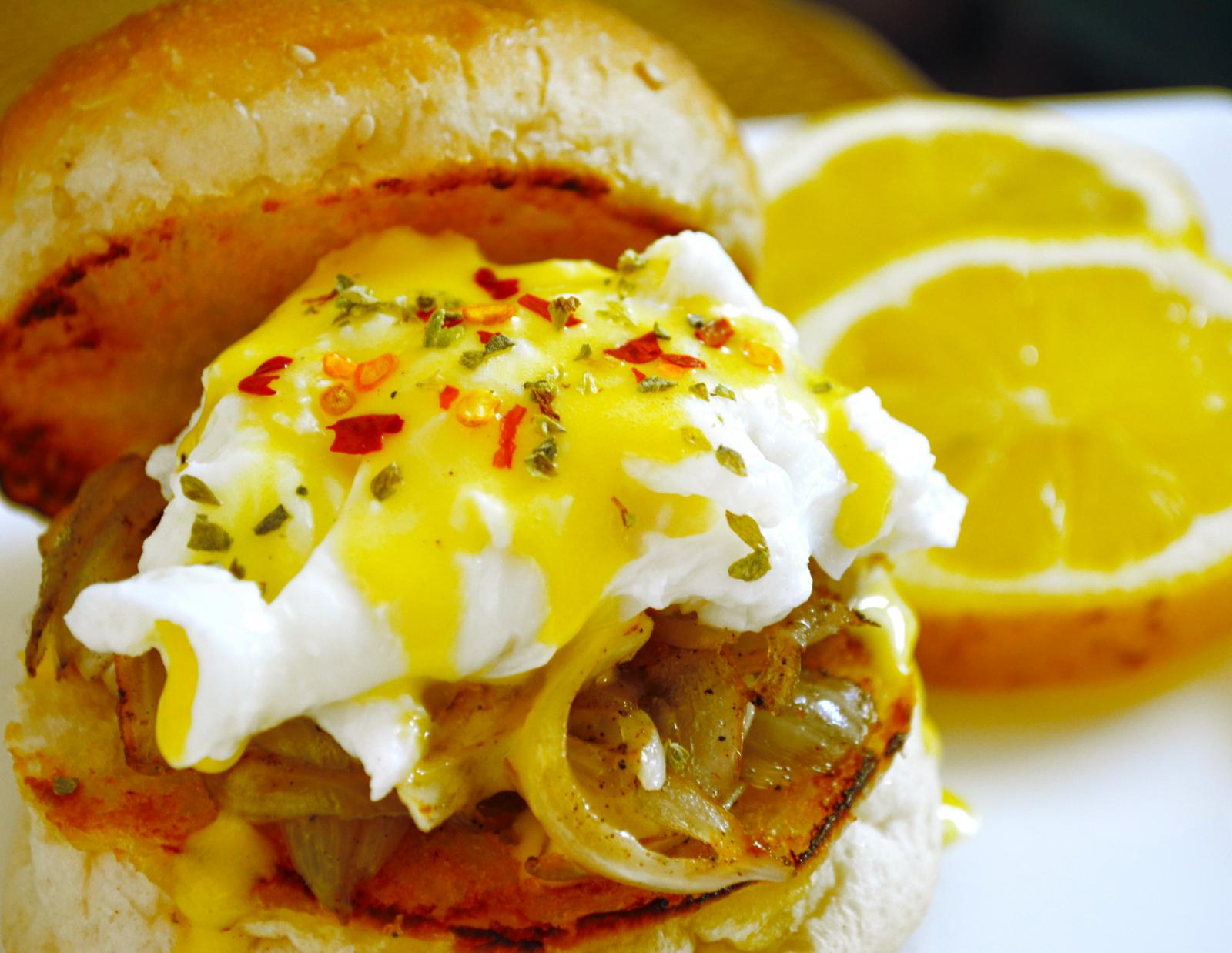 Eggs Benedict With Caramelised Onion And Hollandaise Sauce Recipe