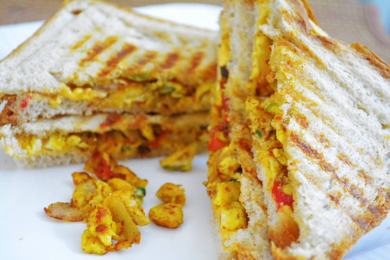 Masala Bhurji Cheese Sandwich Recipe