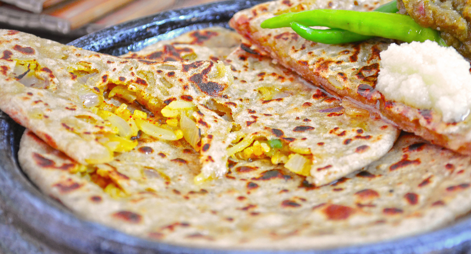 Spicy Rice Stuffed Paratha Recipe