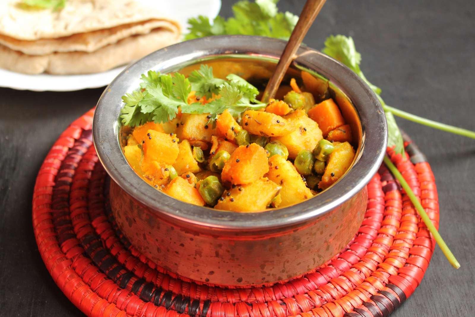 No onion and no garlic aloo gajar matar ki sabzi recipe by archanas no onion and no garlic aloo gajar matar ki sabzi recipe forumfinder Image collections