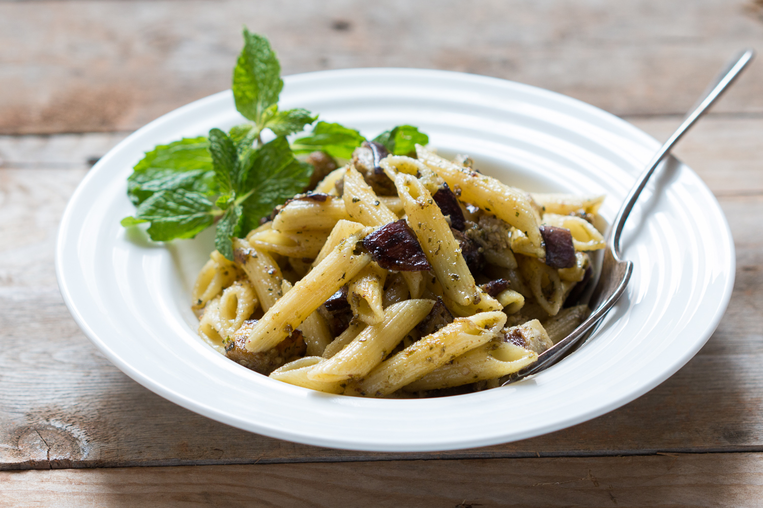 Penne With Roasted Eggplant And Mint Pesto Recipe