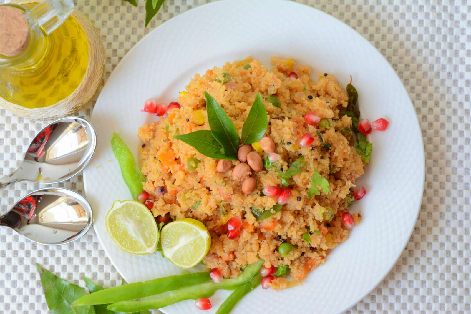 Rava Upma Recipe With Peanuts, Peas & Corn