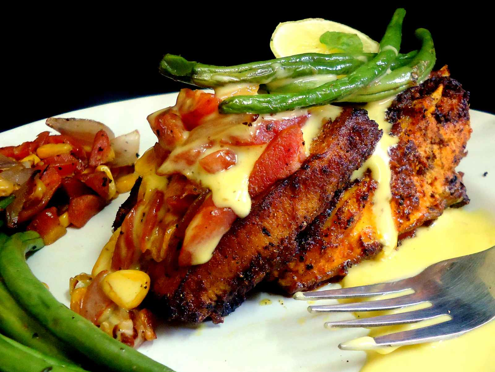 Chettinad Fish Fry With Roasted Corn, Onions And Carrots With French Beans Recipe