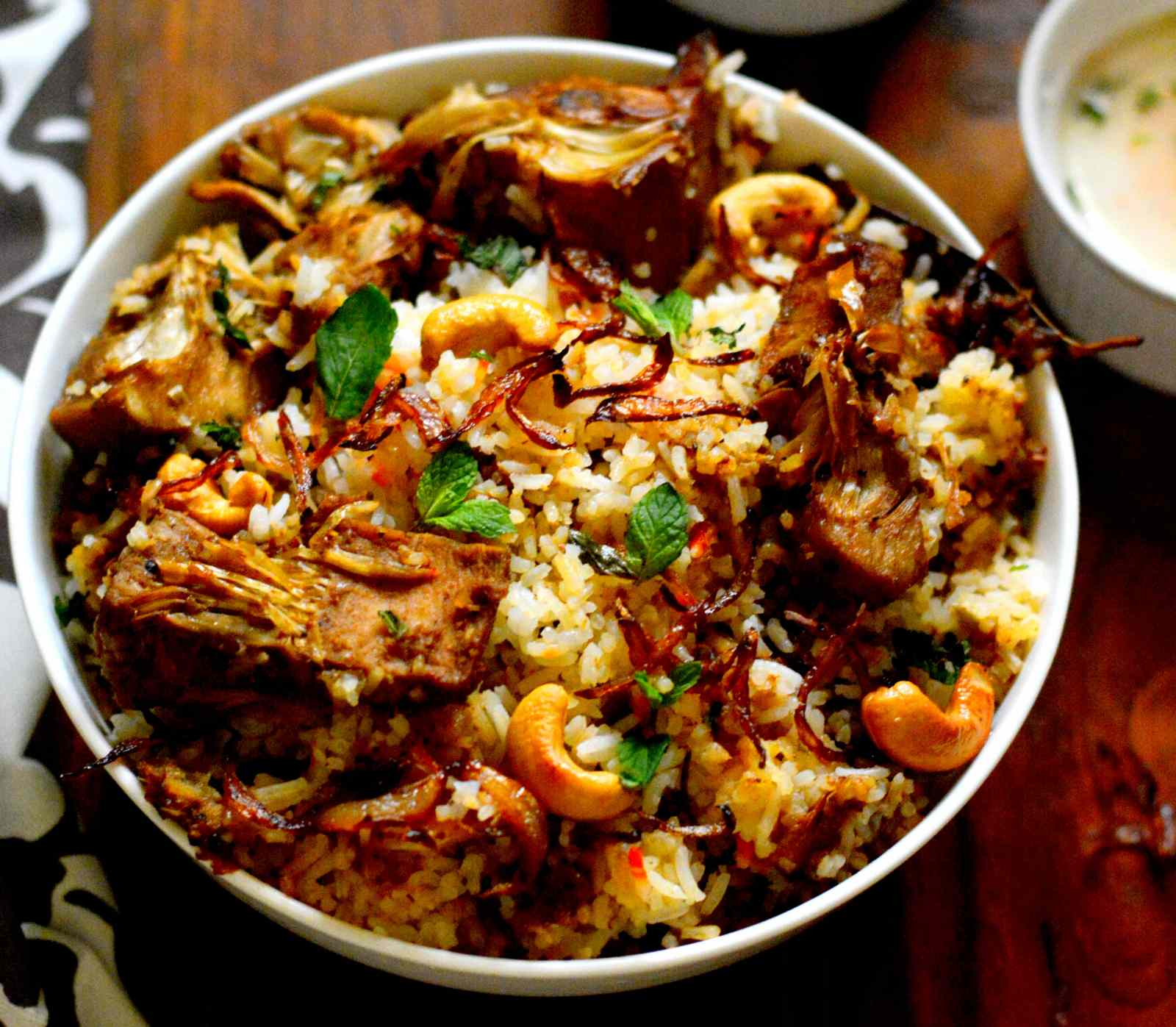 Kathal Biryani Recipe- Raw Jackfruit Biryani Topped with Caramelised Onions