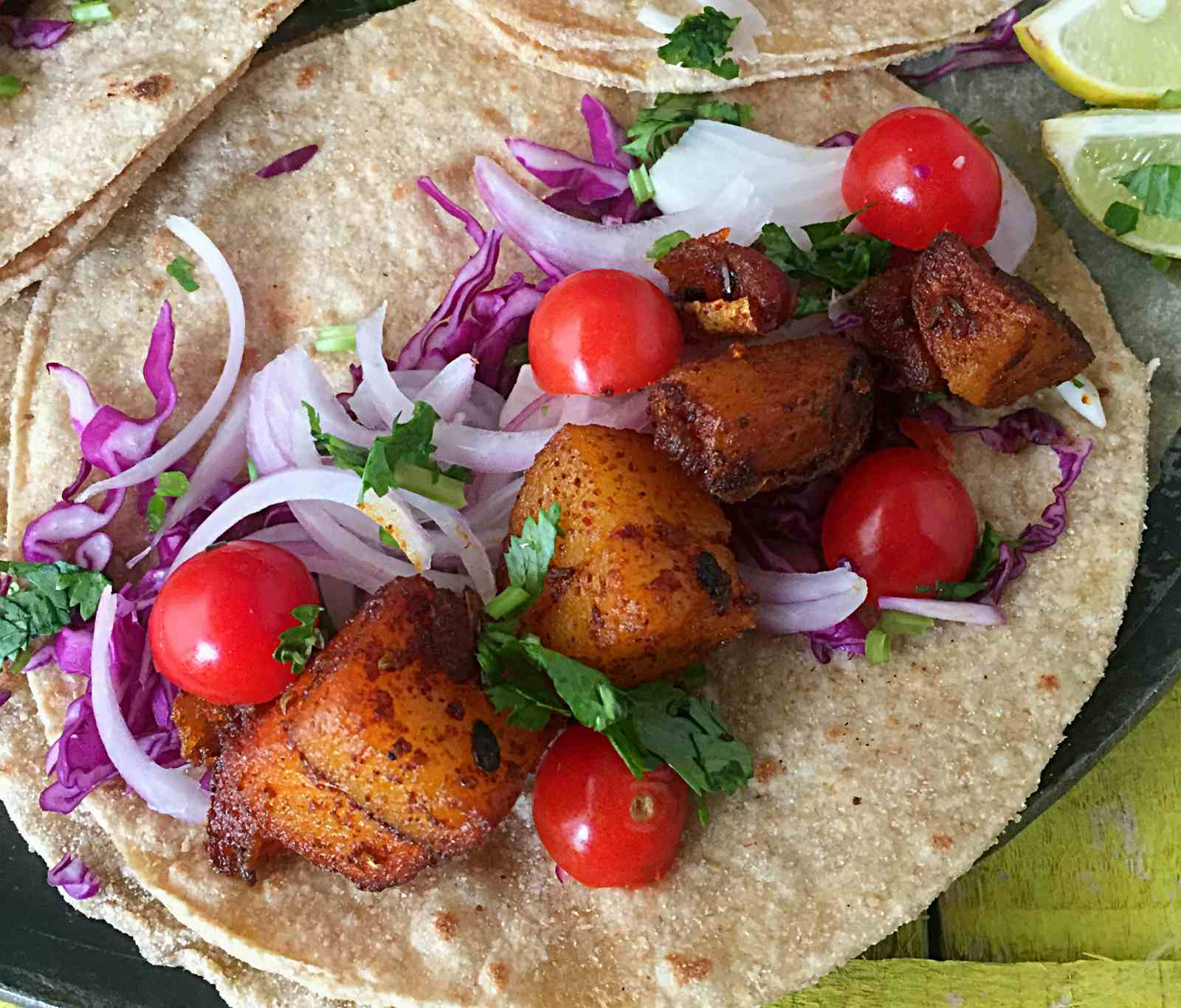 Whole Wheat Achaari Aloo Tacos - Indo Mexican Fusion Recipe
