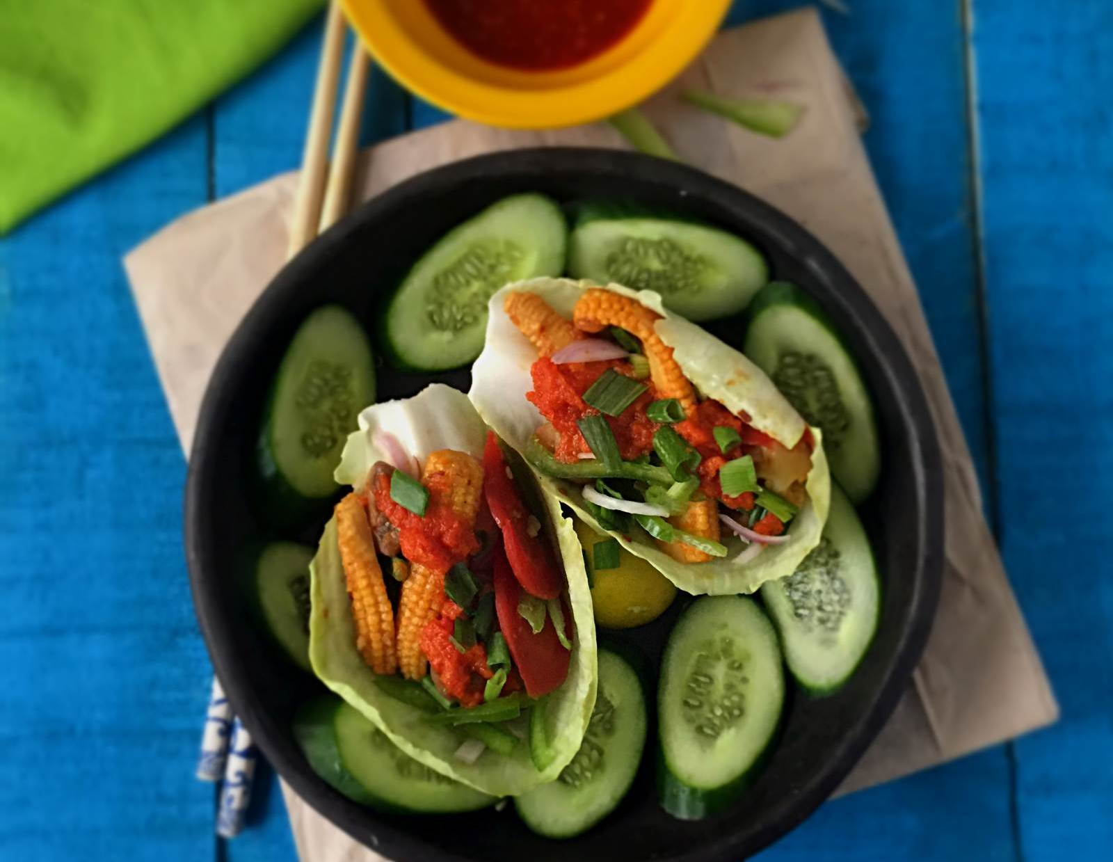 Chinese Tacos (Salad Taco with Hot and Sweet Vegetables) -Fusion Recipe