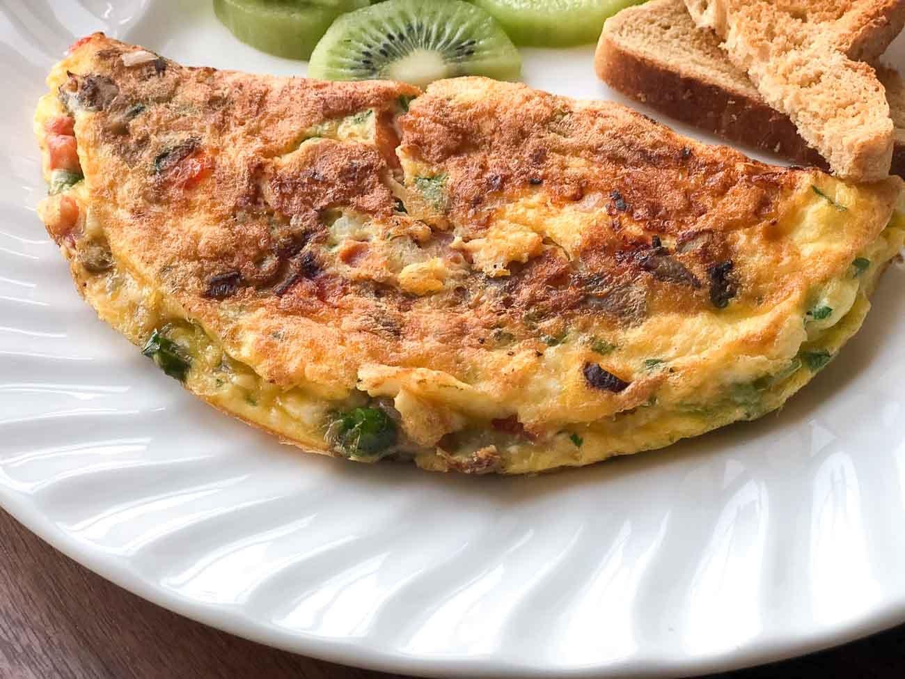 Mushroom Masala Cheese Omelette Recipe