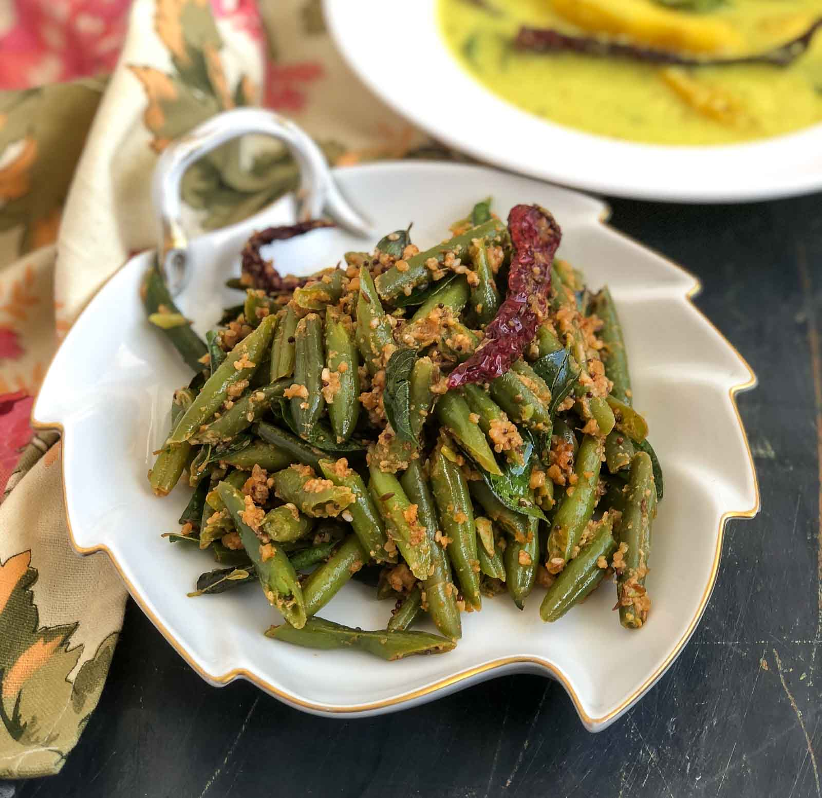 Green Beans Poriyal Recipe With Peanuts & Sesame Recipe