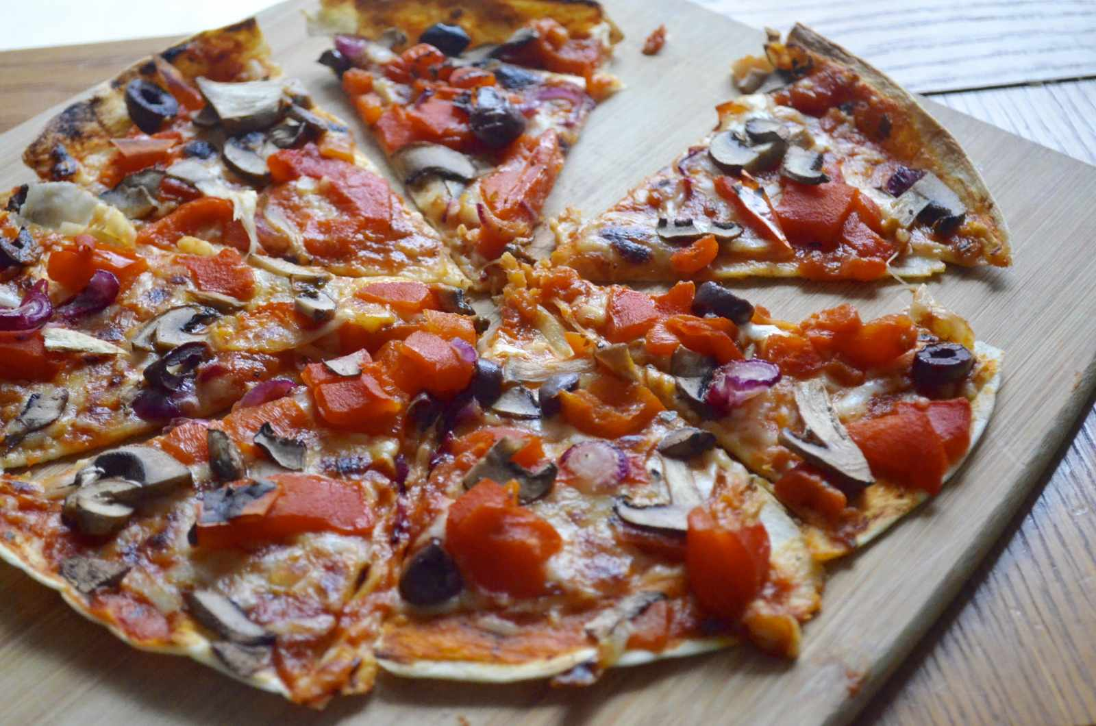 Roasted Peppers And Mushroom Tortilla Pizza By Archana S Kitchen