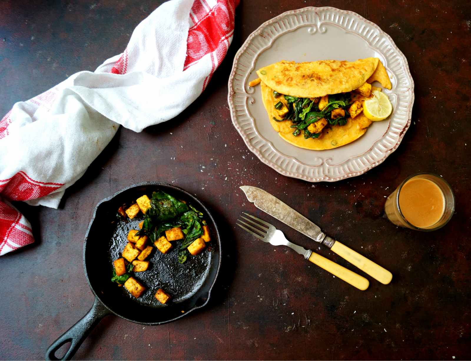 Savoury Pancakes Recipe With Spinach & Paneer Filling