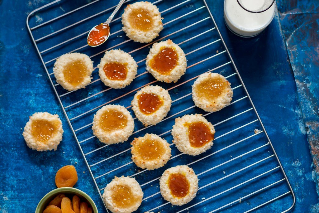 Coconut Thumbprint Cookies With Pineapple And Apricot Preserve Recipe