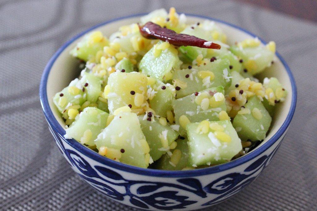 Chow Chow Pasi Paruppu Poriyal Recipe – Chayote Squash And Moong Stir Fry