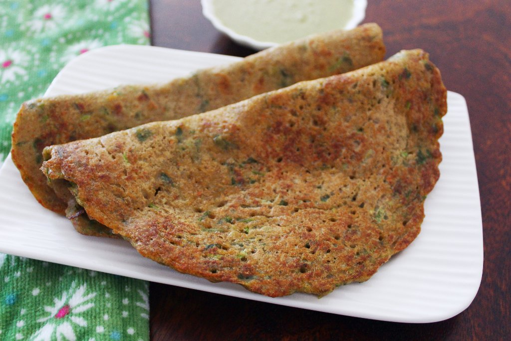 Foxtail Millet Paruppu Adai With Keerai Recipe – Foxtail Millet and Lentil Crepes with Spinach