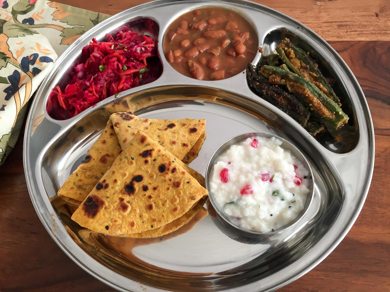 Portion Control Meal Plate - Rajma Masala Bharwa Bhindi Thepla And More & Portion Control Meal Plate - Rajma Masala Bharwa Bhindi Thepla And ...