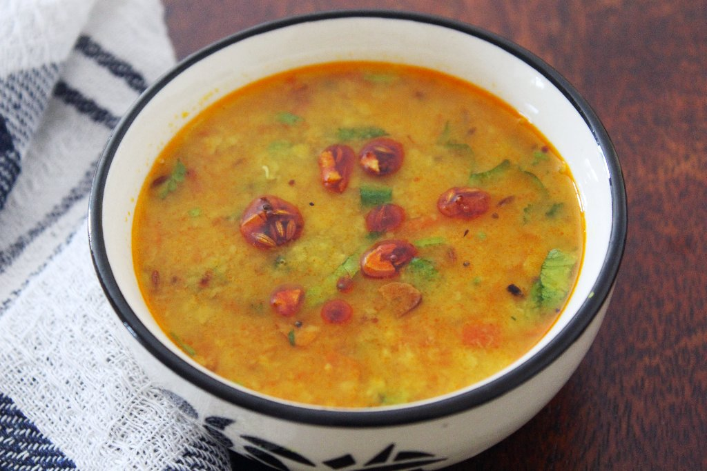 Sindhi Toor Dal Recipe With Aam Papad - Sun dried Mango & Dal Curry