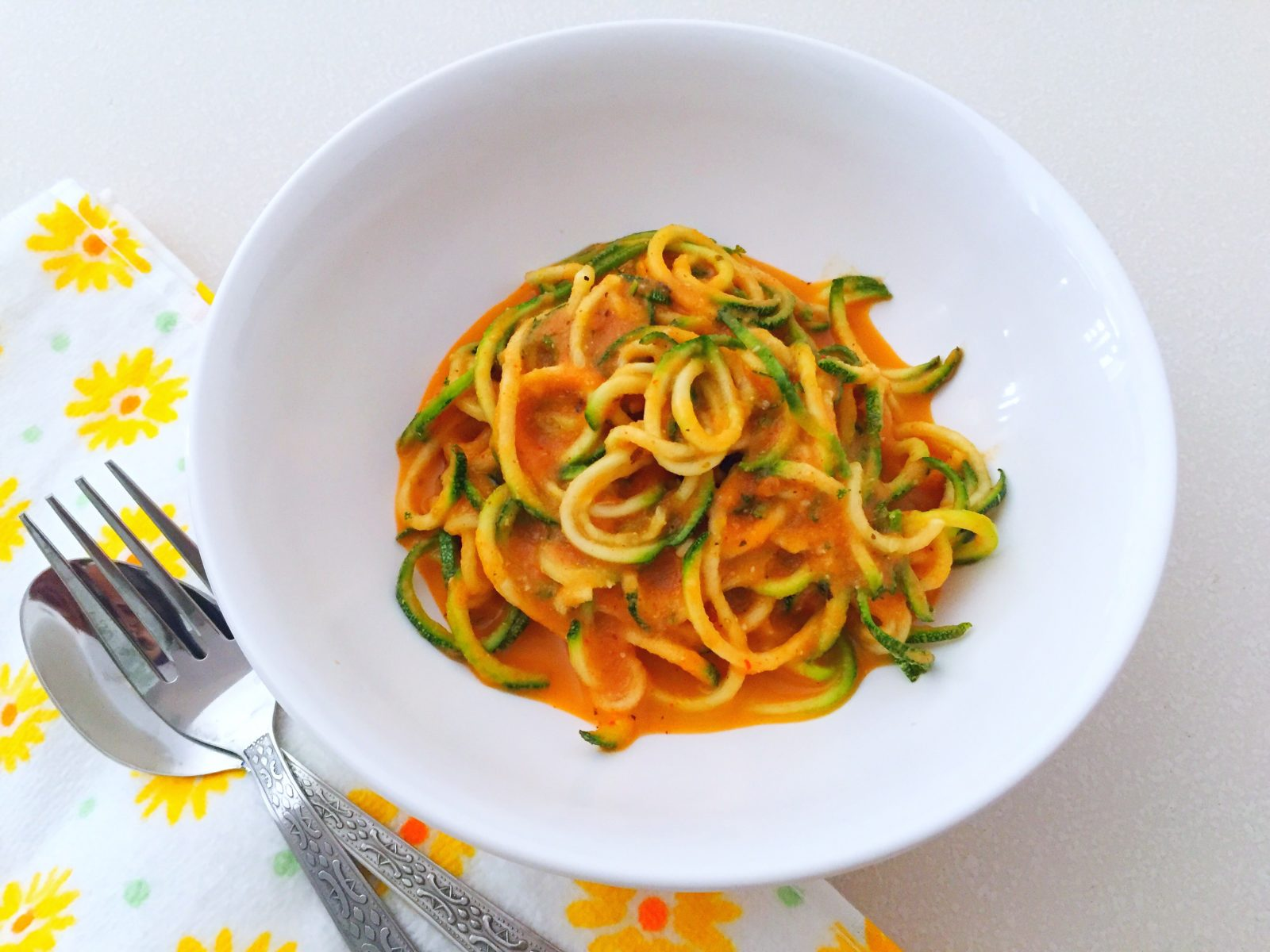 Zoodles In Tomato And Cashew Cream Sauce Recipe (Vegan)