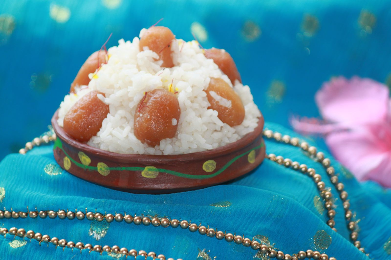 Indian Festive Sweet Rice And Jamun Bhog Recipe