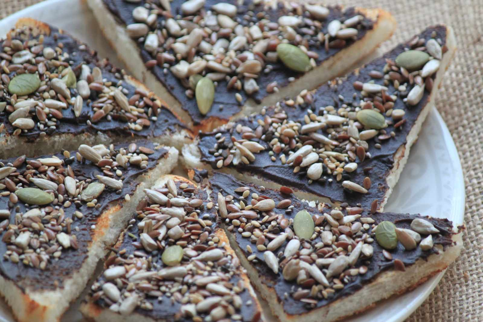 Chocolate Toast Recipe Topped With Pumpkin & Sunflower Seeds