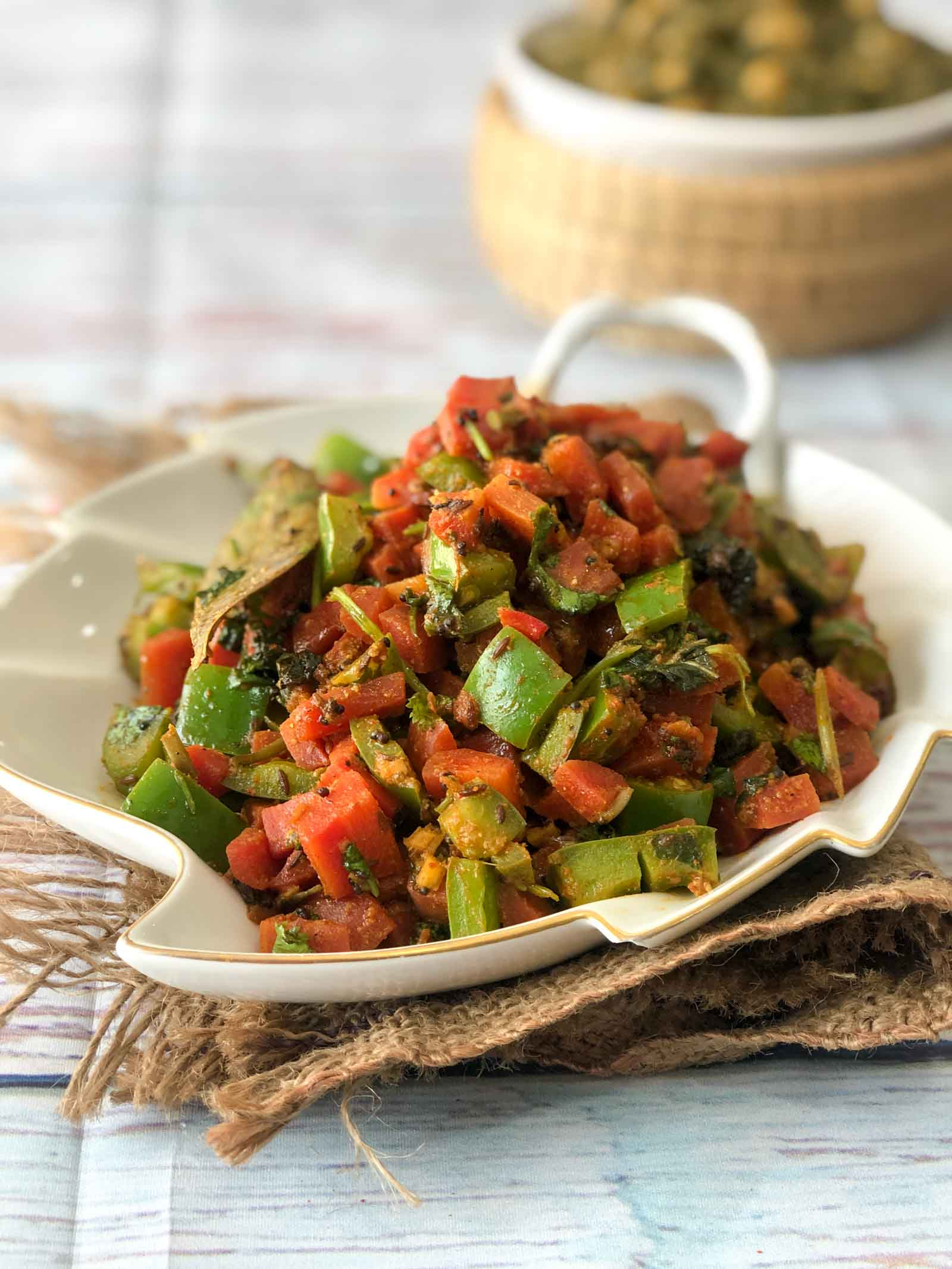 Carrot & Capsicum Sabzi Recipe - No Onion No Garlic