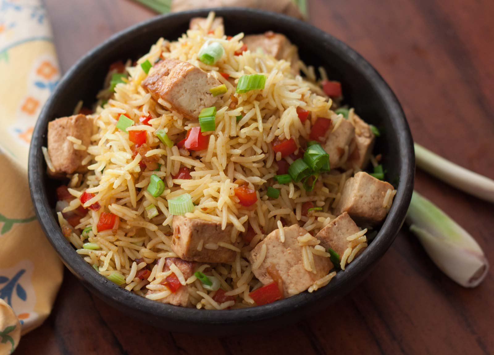 Lemongrass flavored tofu fried rice recipe by archanas kitchen lemongrass flavored tofu fried rice recipe ccuart Choice Image