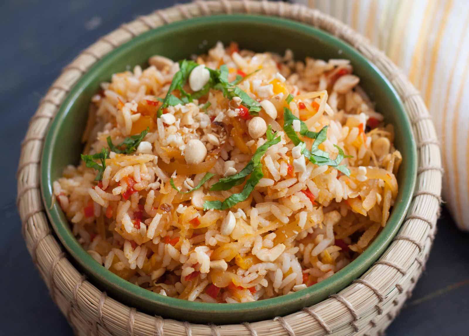 Thai Style Vegetables & Raw Papaya Rice Recipe