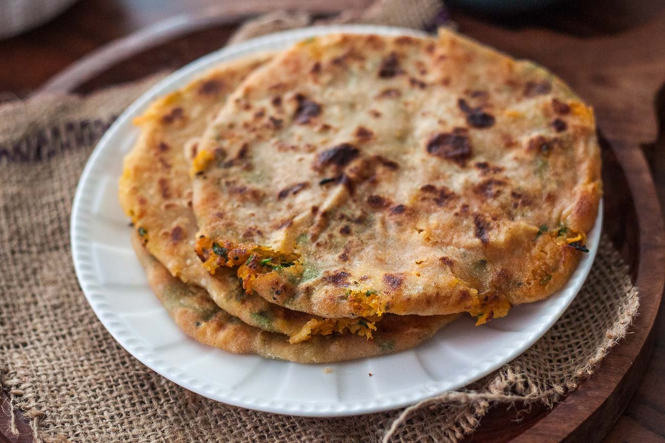 Carrots & Sweet Potato Stuffed Paratha Recipe