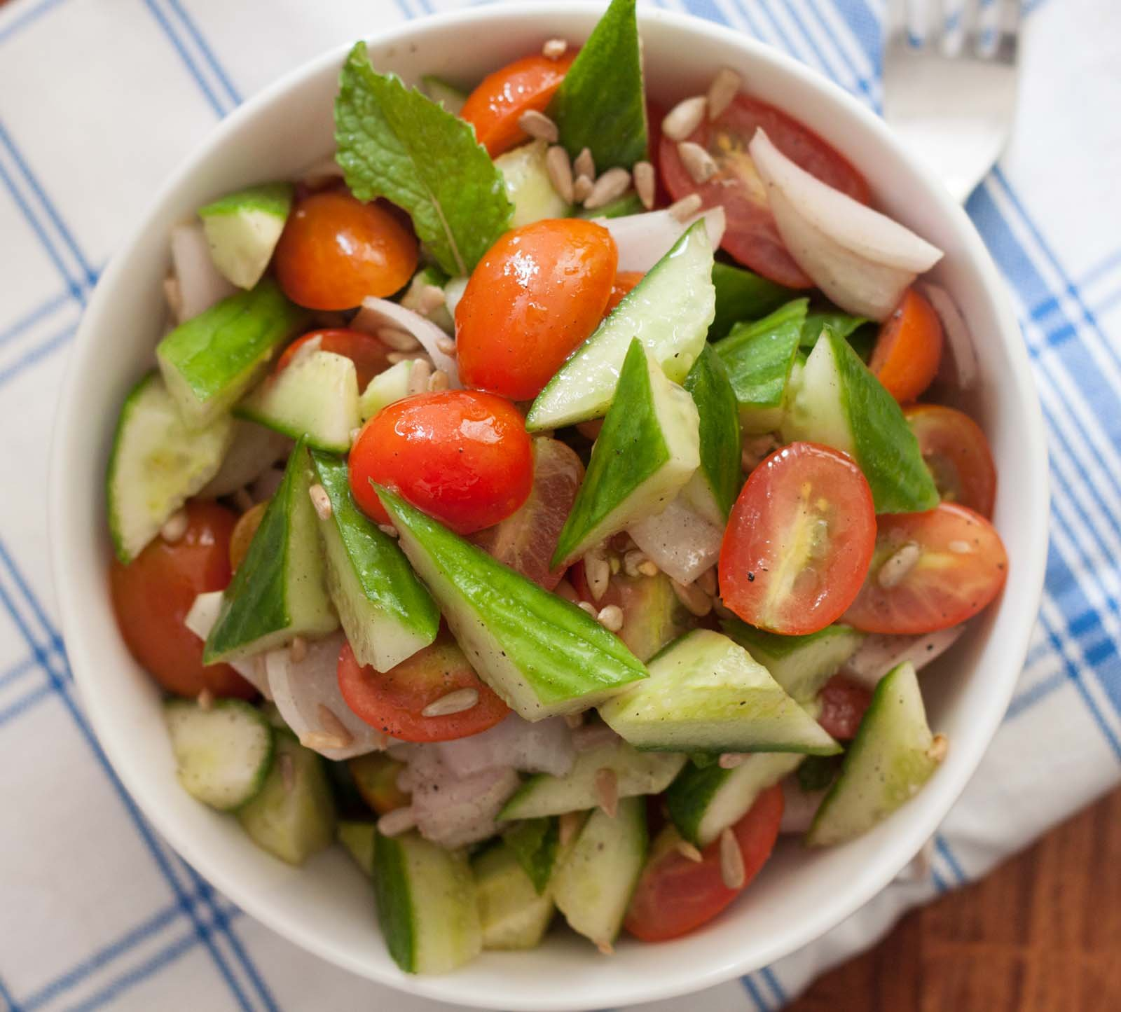 Cherry tomatoes, cucumber and onion salad